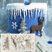 Christmas tree elk Fondant molds snowflake icicle silicone fondant cake decoration mold Clay Molds
