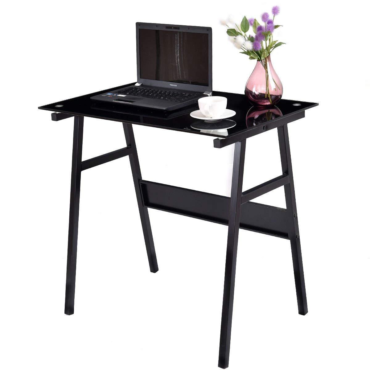 Black Computer Desk Writing Table Glass Top Metal Leg Study Decor Home Office