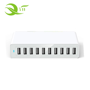 50W 10 Port USB Cellphone Charger With Blue LED Light for Phone with US EU AU UK Plug