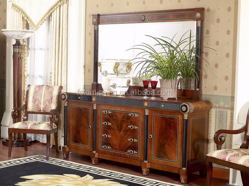 YB10 Luxury French Louis XV Mahogany Buffet Sideboard Cabinet Antique Dining Room With Mirror Furniture