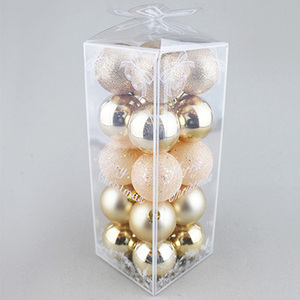 5cm gold plastic painted ball with butterfly box