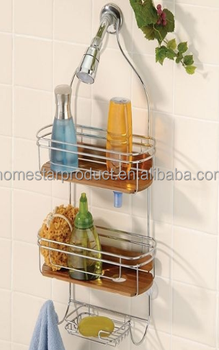 Bamboo Teak Shower Caddy Bathroom Rack Shelf Corner Rack Buy