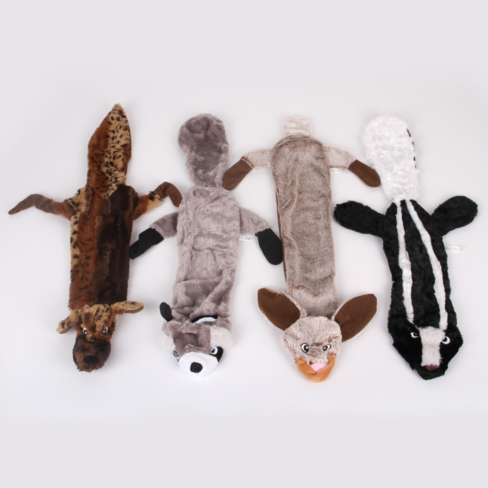 Plush Squeaky Dog Toys Stuffed Squeaking Wolf Rabbit Squirrel Animals Pet Toy