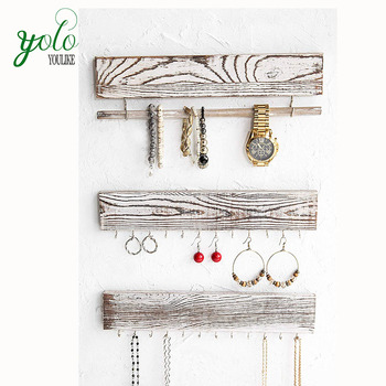 Rustic Vintage Display Wall Mounted Jewelry Organizer With 24 Hooks For Necklaces And Bracelets Holder
