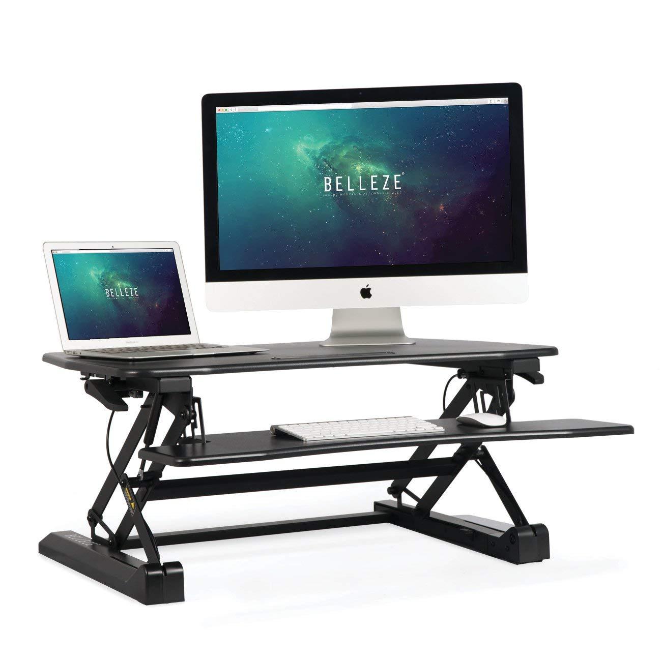 BELLEZE | Stand Up Desk | Computer Riser Table | Keyboard Tray | Adjustable Height Desk Converter | Home | Office | Dorm | 35 Inch | Black