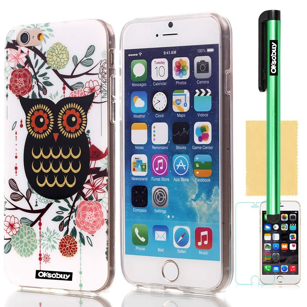 OkSoBuy® Apple Iphone 6 (4.7 Inch) Case Soft Transparent TPU Unique Owl Glitter Shimmering Bling Powder Impact Case for Apple Iphone 6 (4.7 Inch) Screen Protector Stylus (Colorful Owl I)