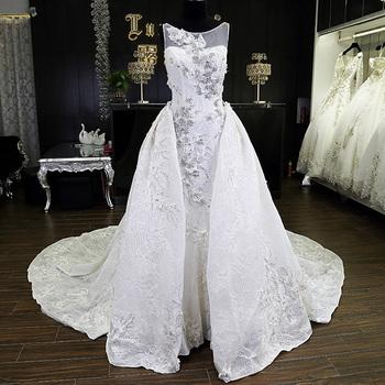 5ed7de04011a Custom made lace backless long tail crystal bride wedding dress detachable  skirt for lady