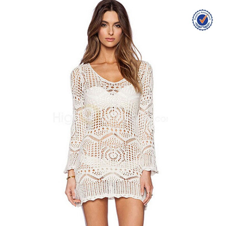Summer new arrival white long sleeve knitted sexy crochet beach dress