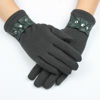 One size fits most 3 stone trim green embroidery Smartouch women fashion gloves