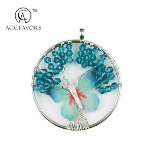 charmful round Glass beads and alloy pendant fashion life tree pendant