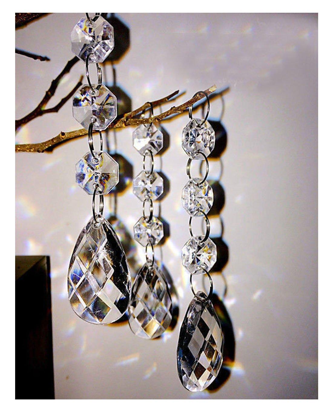30PCS Teardrop Acrylic Crystal Beads Beads Garland Chandelier Hanging Wedding Party Decor