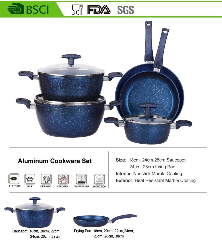 tremp couvercle en verre forg bleu marbre batterie de cuisine pour cuisini re induction. Black Bedroom Furniture Sets. Home Design Ideas