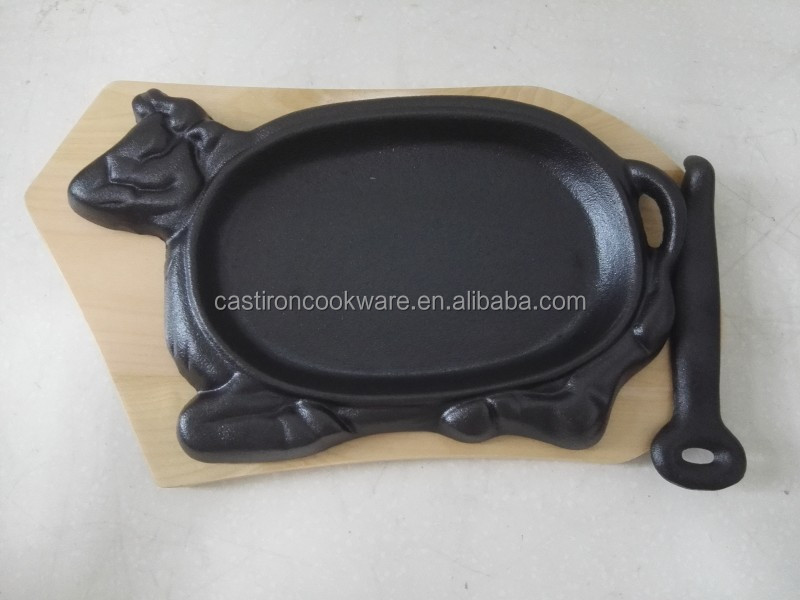 cast iron steak fry pan / vegetable oil sizzlier plate