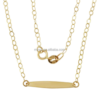 14k Yellow Gold 16-inch Italian Rolo Chain Adjustable Bar Pendant Necklace With 2-inch Extender