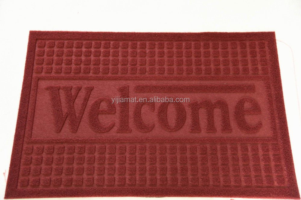 VPvelour plain PVC backing entrance Welcome floor mat