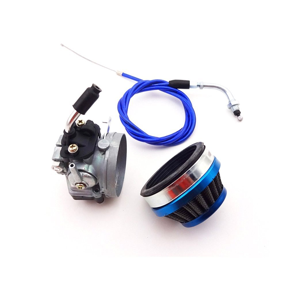 TC-Motor Racing Carburetor + Blue Air Filter + Gas Throttle Cable For 2 Stroke 49cc 50cc 60cc 66cc 80cc Engine Motorized Bicycle Push Bike
