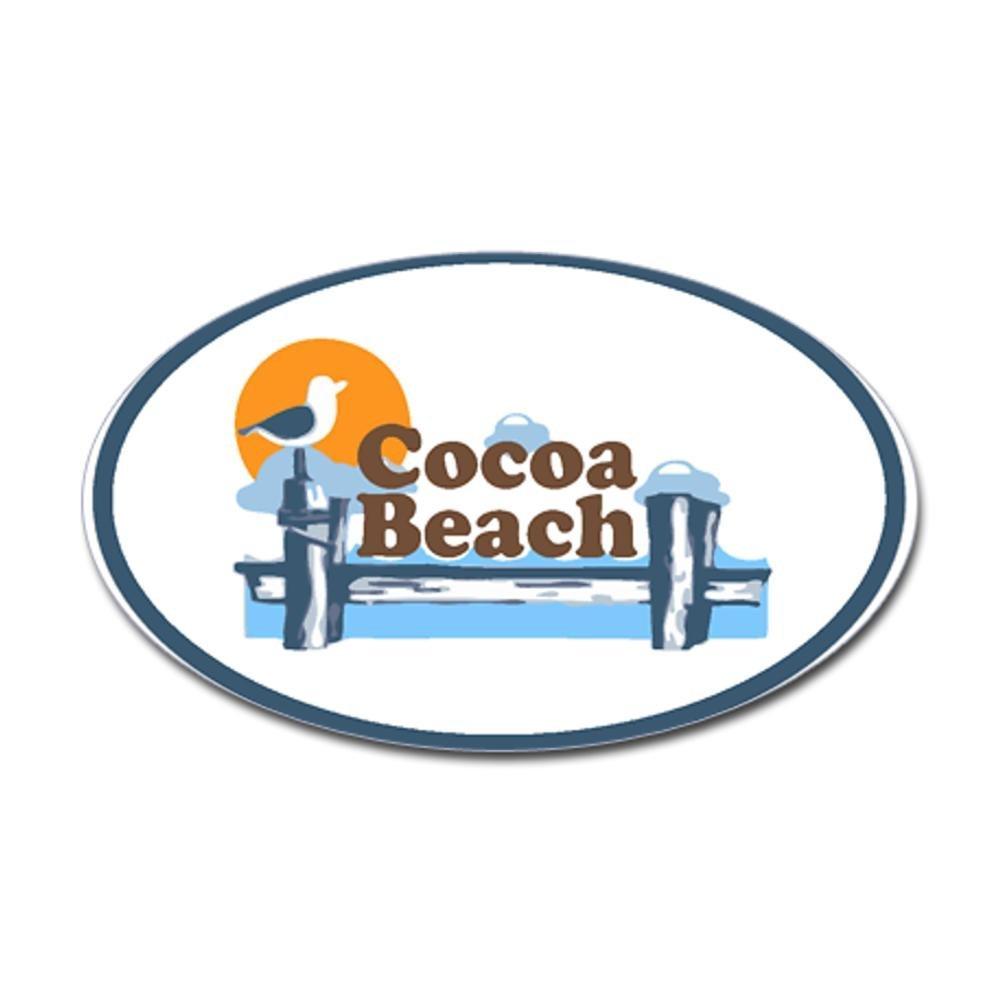 CafePress - Cocoa Beach - Pier Design. Sticker (Oval) - Oval Bumper Sticker, Euro Oval Car Decal