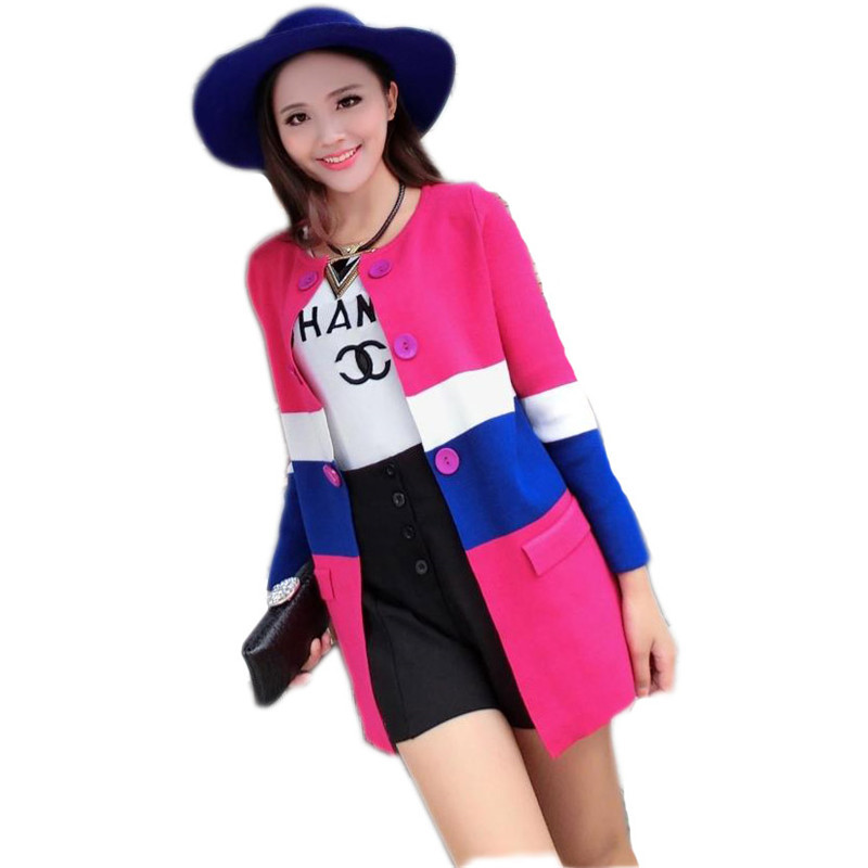 9010d8c323a Get Quotations · 2015 Women s Fall Fashion Casual Long Patchwork Contrast  Color Knitted Sweater Long Sleeve Poncho Plus Size