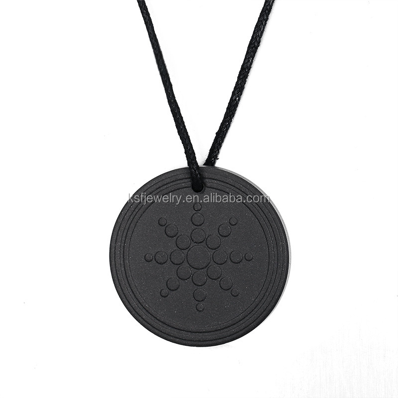 Cheap Wholesale Lava Quantum Energy Pendant with Leather Chain