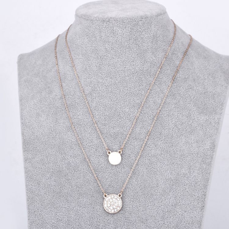 Hot sale women rhinestone alloy 2 layered pendant necklace