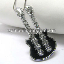 White gold plating crystal deco double neck guitar pendant necklace vners