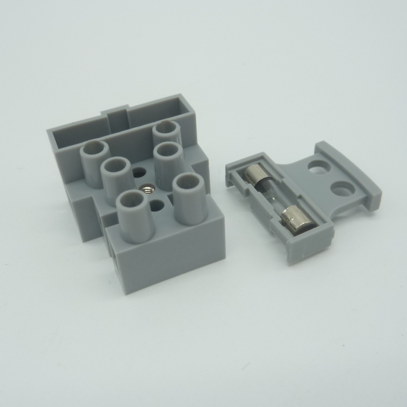 Grey plastic electrical brass 3pin terminal block fuse connector