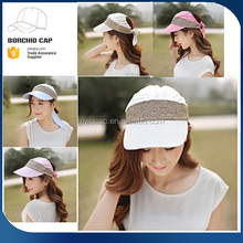 Bright colorful running sports cap with sequins,cheap lace sunshade summer hat sun visor caps with bowknot for ladies