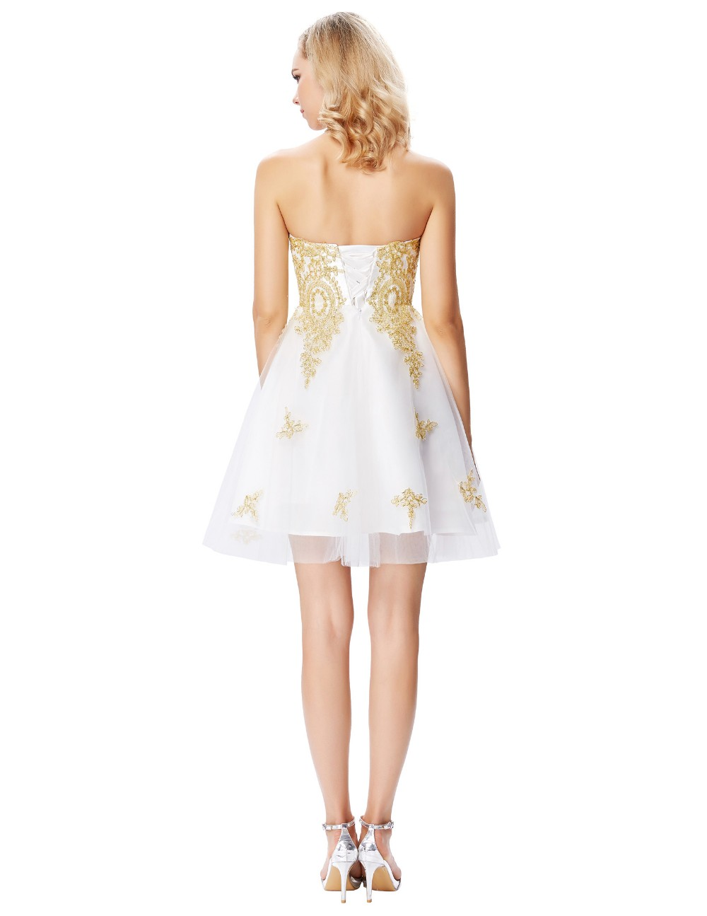 Grace Karin Strapless Sweetheart Golden Appliqued White Beaded Tulle Cocktail Dress GK000138-1