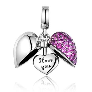 Custom 925 Sterling Silver Charms, European I Love You Heart Charm Beads Fit DIY Charm Bracelet