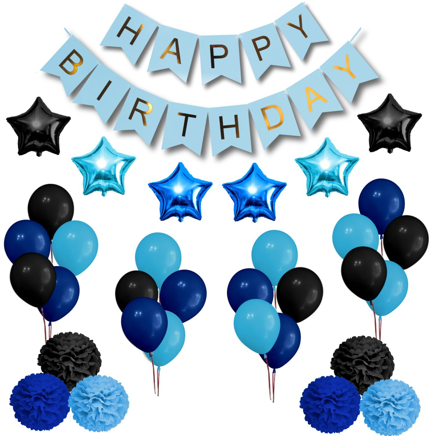 Get Quotations Party Decorations Set Happy Birthday Decoration Banner And Balloons Elegant Black Blue