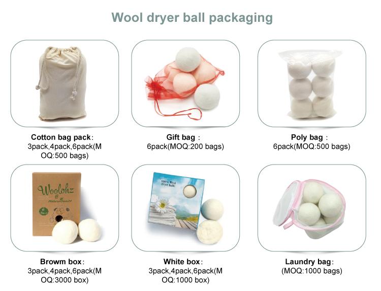 Laundry use felt softener pure organic gray wool dryer balls