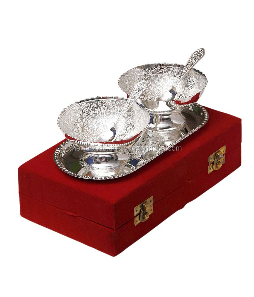 Finest Silver Plated Tray And Bowl Set With Spoon Wholesale, Silver  AW58
