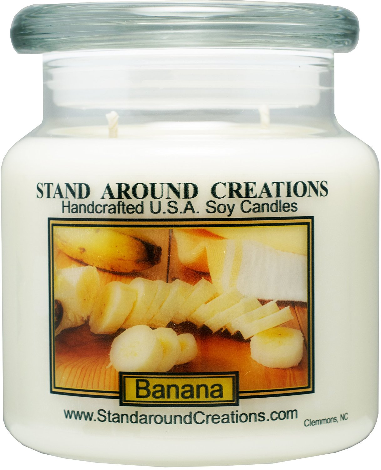 Premium 100% Soy Apothecary Candle - 16 oz Double Wicked- Banana : A true, fresh, ripe banana scent.