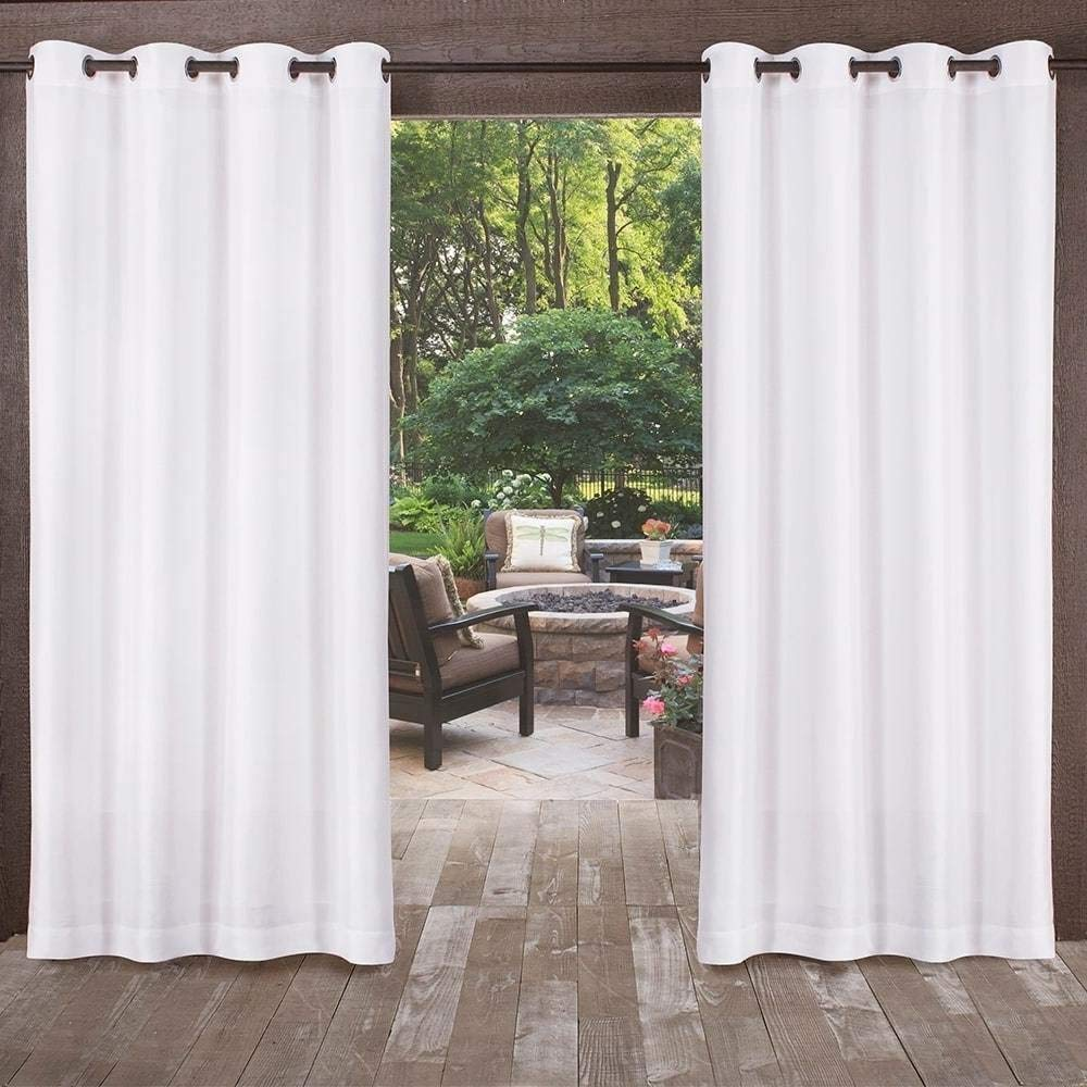 UK4 2 Piece 108 Inch White Indoor Outdoor Two Tone Textured Gazebo Curtain, Snow Window Treatment Panel Pair, Patio Porch Cabana Dock Grommet Top Pergola Drapes, Casual Contemporary Polyester
