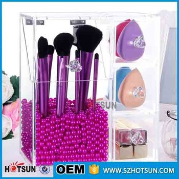 Acrylic Makeup Brush Holder With Lid Organizer Display Stand 3 Drawers