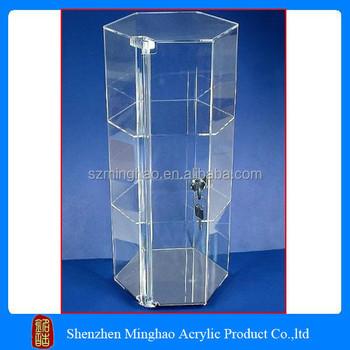 new design wholesale acrylic showcase box clear plastic lockable storage box