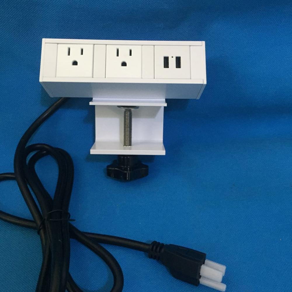 White Desk Clamp Us Power Outlet / Office Desk Edge Mount Electrical  Removable Socket - Buy 3-way Power Socket Outlet,Multi Power Socket