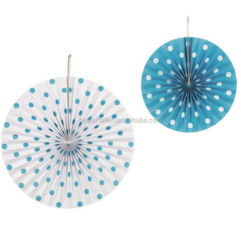 Turquoise And White Polka Dot Paper Hanging Fans Wedding Decoration