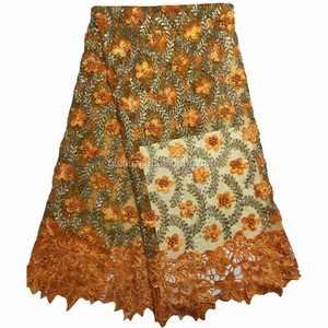 Latest Styles Nigeria African Tulle Lace, Beaded Net French Lace Wholesale, Orange Bridal Net Lace Fabric XZ45356b