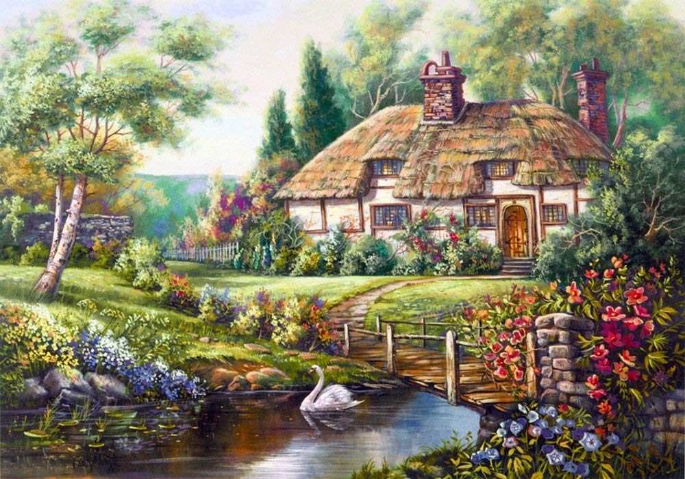 TianMai Hot New DIY 5D Diamond Painting Kits Full Drill Diamond Embroidery Painting Pasted Paint By Number Kit Stitch Craft Kit Home Decor Wall Sticker - Forest Cabin River Swan, 25x30cm