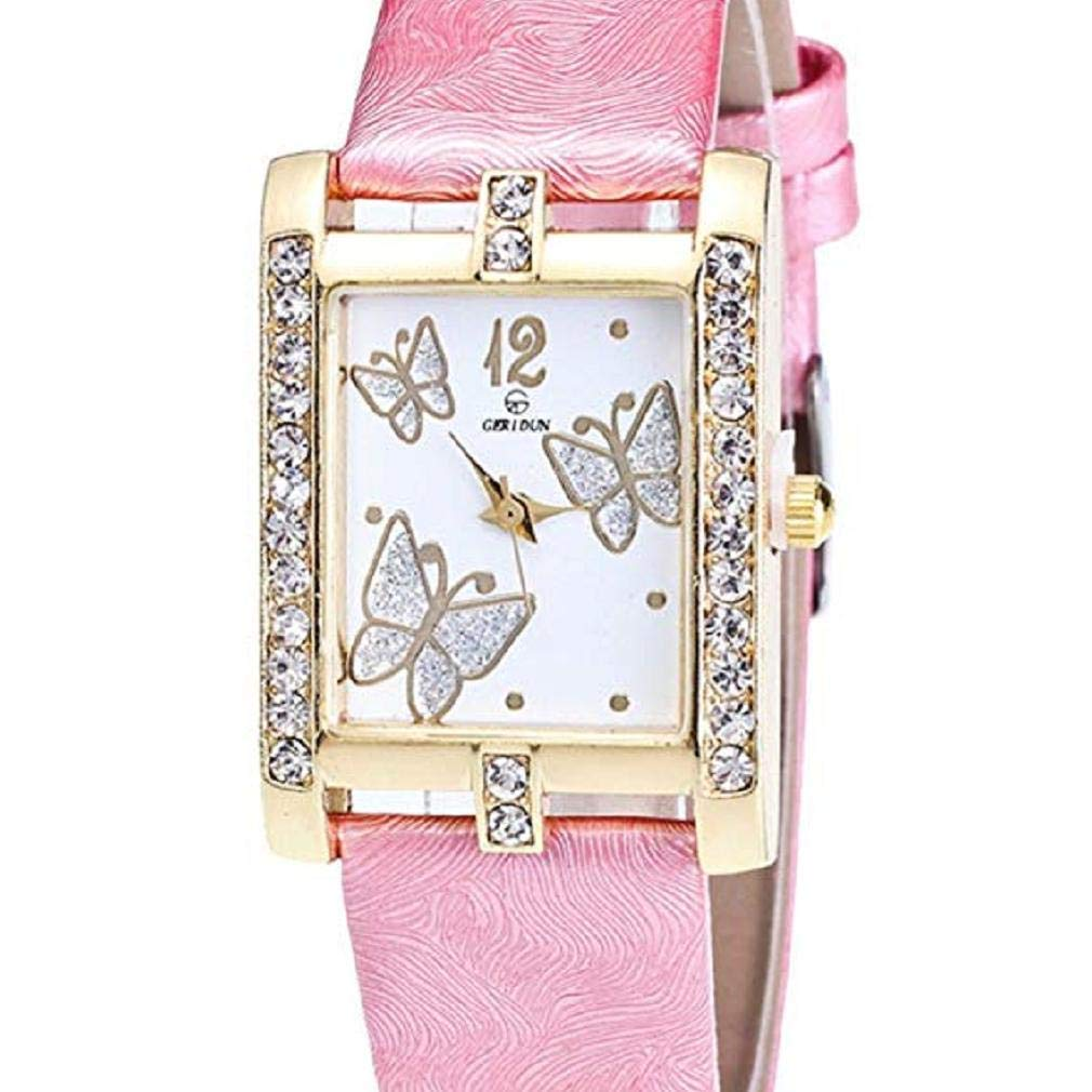 Butterfly Watches for Women, Windoson Crystal Analog Lady Watches Female Watches Wrist Watches for Women Rectangle Leather Watch (Pink)