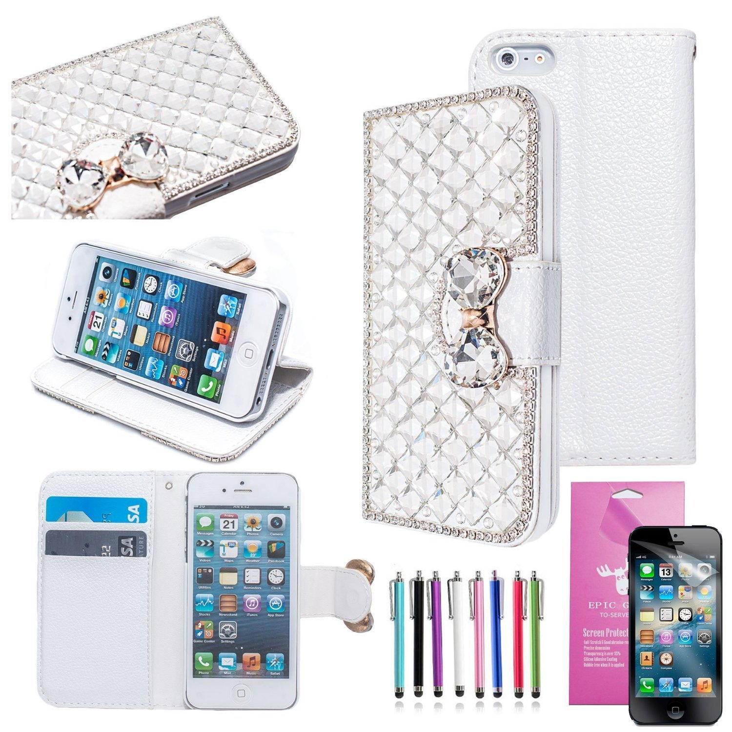 EpicGadget(TM) For Apple iPhone 5S and iPhone 5 Handmade Clear Crystal Luxury Bling Bling White PU Leather Case With Crystal Bow knot Wallet Case Magnaet Flip Cover With Credit Card Holder + iPhone 5 5S Screen Protector + 1 Stylus Pen (Random Color) (US Seller!!) (Silver Leather Case)