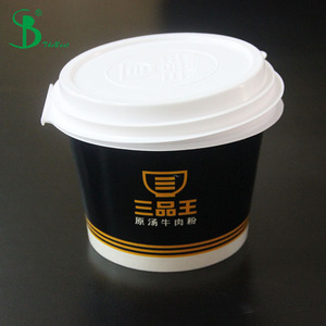 Special design Two-layer plastic lid cover for paper soup/noddle/hot food bowls container easy take away Packing box
