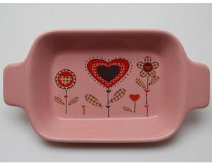 Valentines Day Gifts Set Pink Colored Printing Ceramic Plate