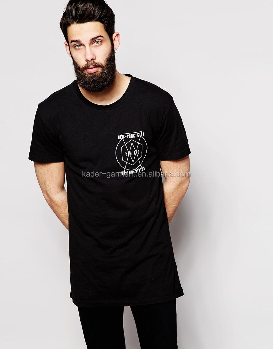 Black Long Line T Shirt Men,Custom Printing Men's T-shirt ...