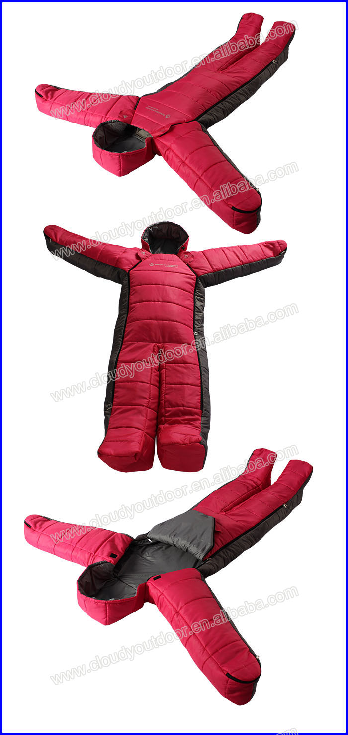 Outdoor Camping Adult Wearable Human Body Shape Winter Mummy Sleeping Bag Ultralight