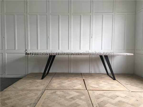 industrial style furniture iron and recycled wooden dining table