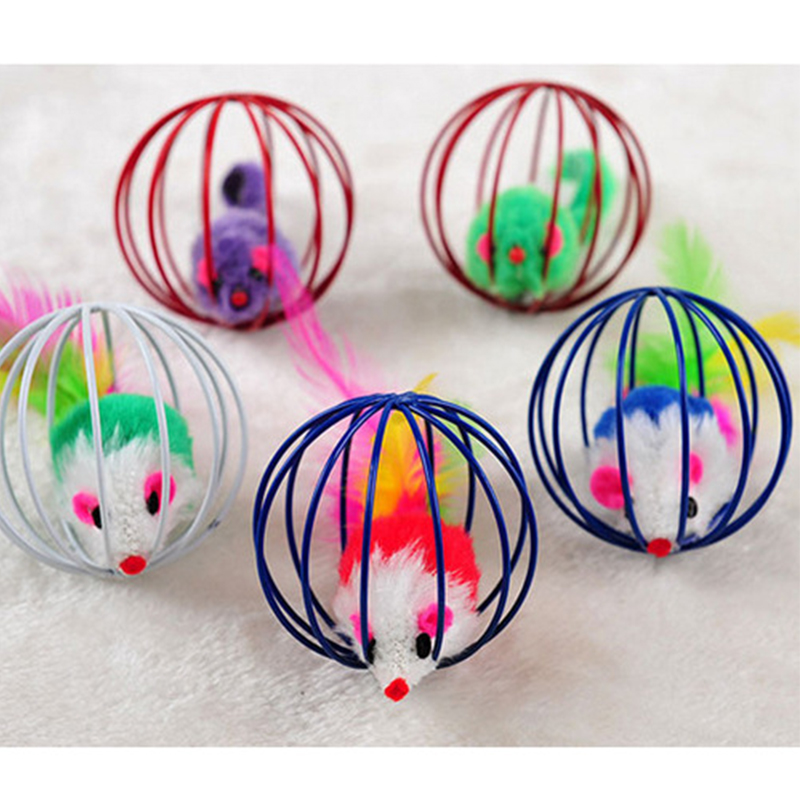 Funny Cute Ball Cage Cat Toy With Mouse Inside