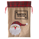 Novelty burlap Santa storage candy drawstring sacks Christmas Gift Bag