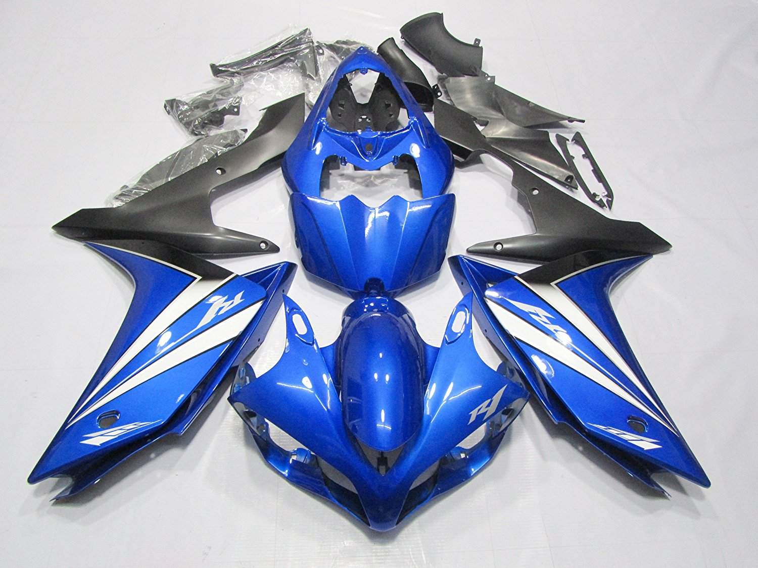 ZXMOTO Blue Black Motorcycle ABS Bodywork fairing kit Painted With Graphic for 07 - 08 Yamaha YZF R1 2007 - 2008